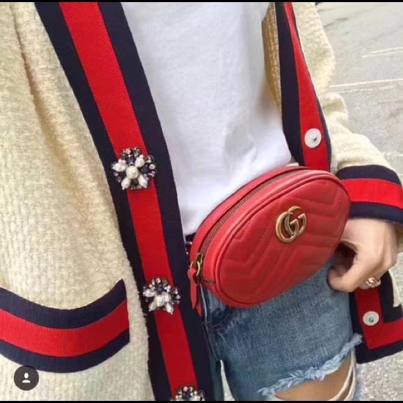 18b80b87f426 Gucci Bags | Red Marmont Belt Bag | Poshmark